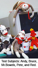 sock monkeys sitting by a computer